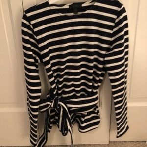 J crew navy striped wrap top with bow. Small